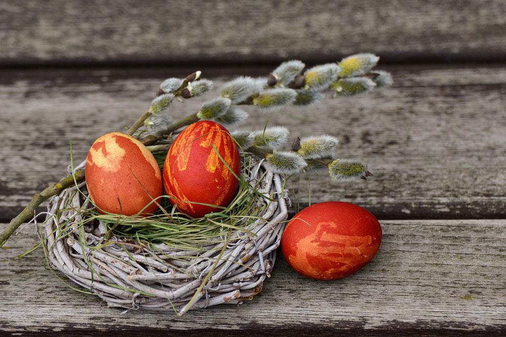 Drei orangene Ostereier in einem Nest